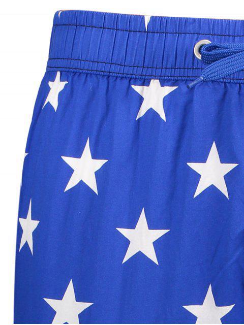 womens Star and Stripe Printed Drawstring Board Shorts - BLUE XL Mobile