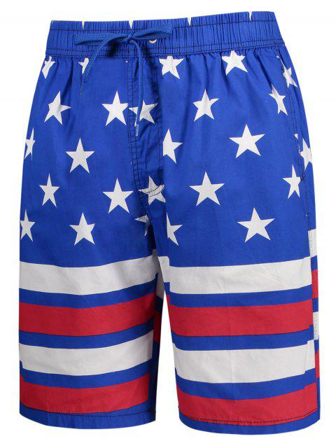 women's Star and Stripe Printed Drawstring Board Shorts - BLUE 3XL Mobile