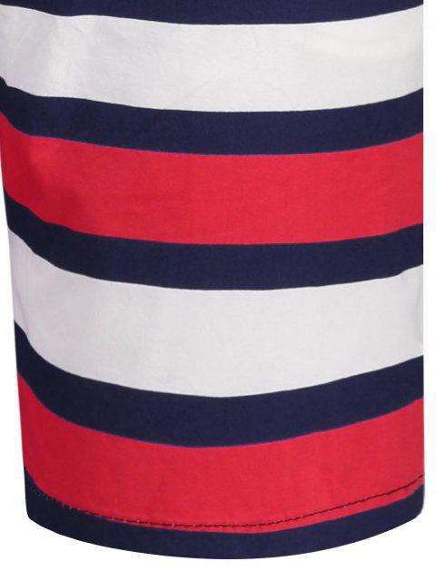ladies Star and Stripe Printed Drawstring Board Shorts - PURPLISH BLUE 3XL Mobile