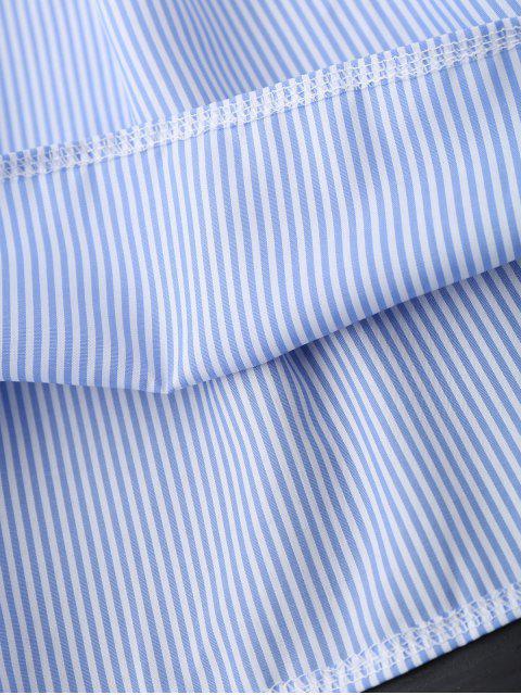 new Open Back Striped Off The Shoulder Dress - BLUE M Mobile