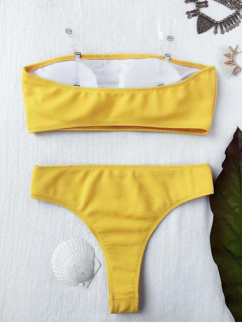 affordable Textured High Leg Bandeau Bikini Set - YELLOW S Mobile