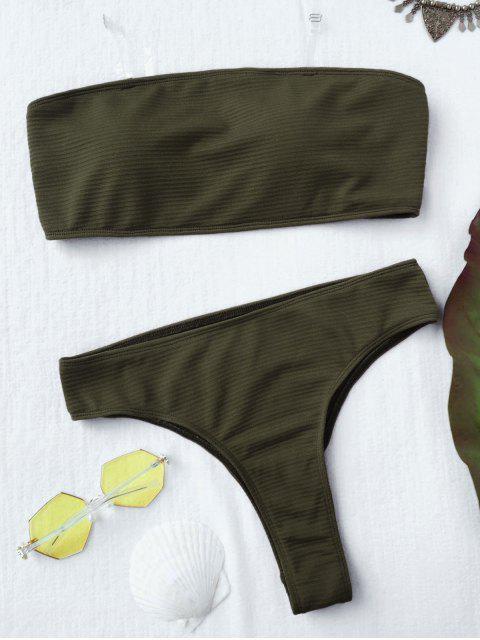 women's Textured High Leg Bandeau Bikini Set - GREEN L Mobile
