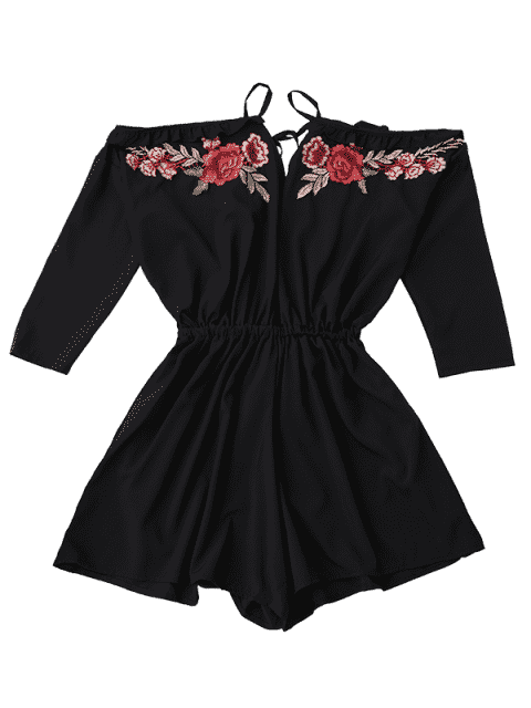 Floral Applique Cold Shoulder Romper - Noir S Mobile