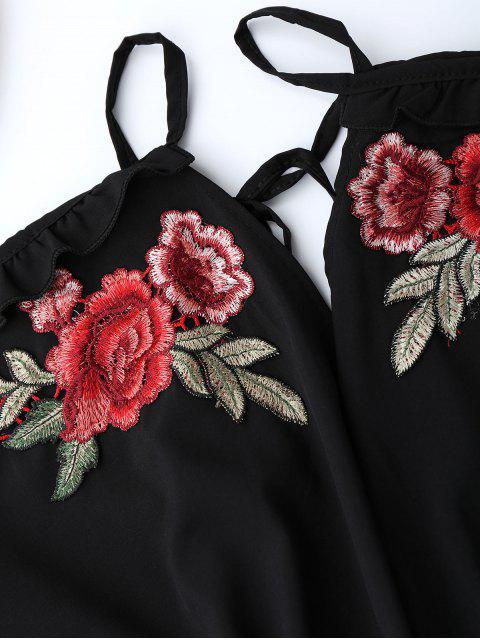 new Floral Applique Cold Shoulder Romper - BLACK XL Mobile