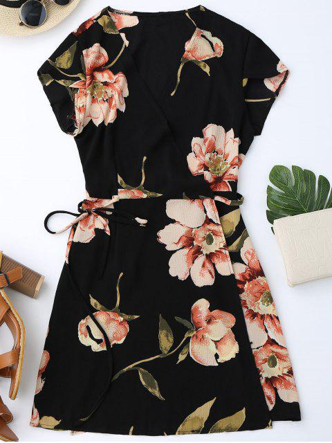 best Cap Sleeve Floral Mini Wrap Dress - BLACK M Mobile