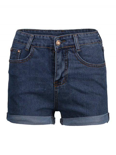 shop High Waist Cuffed Denim Shorts - DEEP BLUE XL Mobile