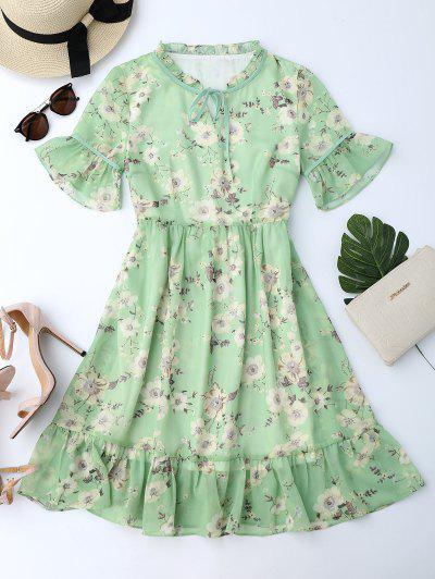 Vestido Rodado Floral De Chiffon   - Luz Verde L