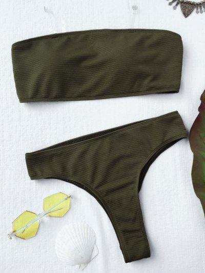 Textured High Leg Bandeau Bikini Set - Green M