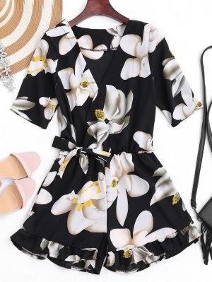 Belted Ruffles Floral Surplice Romper - Floral S