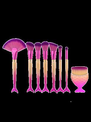 Cepillo De Maquillaje De La Cola De La Sirena De 8pcs - Multicolor