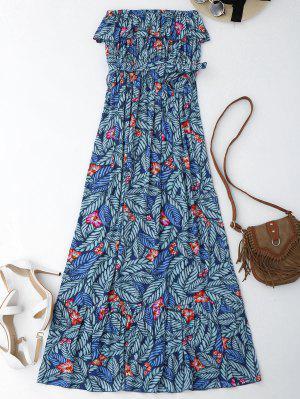 Hoja De Impresión De Maxi Hasta El Hombro Cubrir El Vestido - Floral M