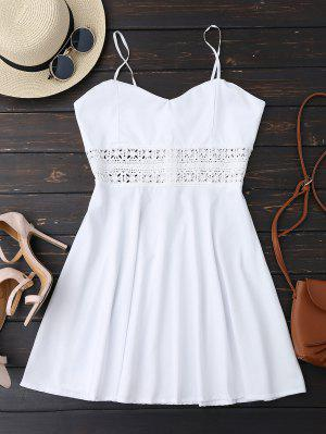 Cami Crochet Trim Skater Sun Dress - White L