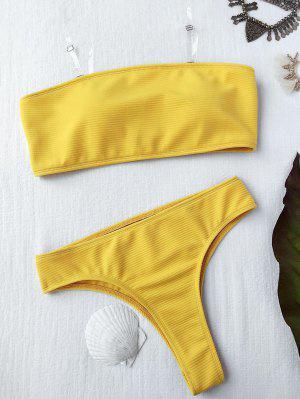 Textured High Leg Bandeau Bikini Set - Yellow S