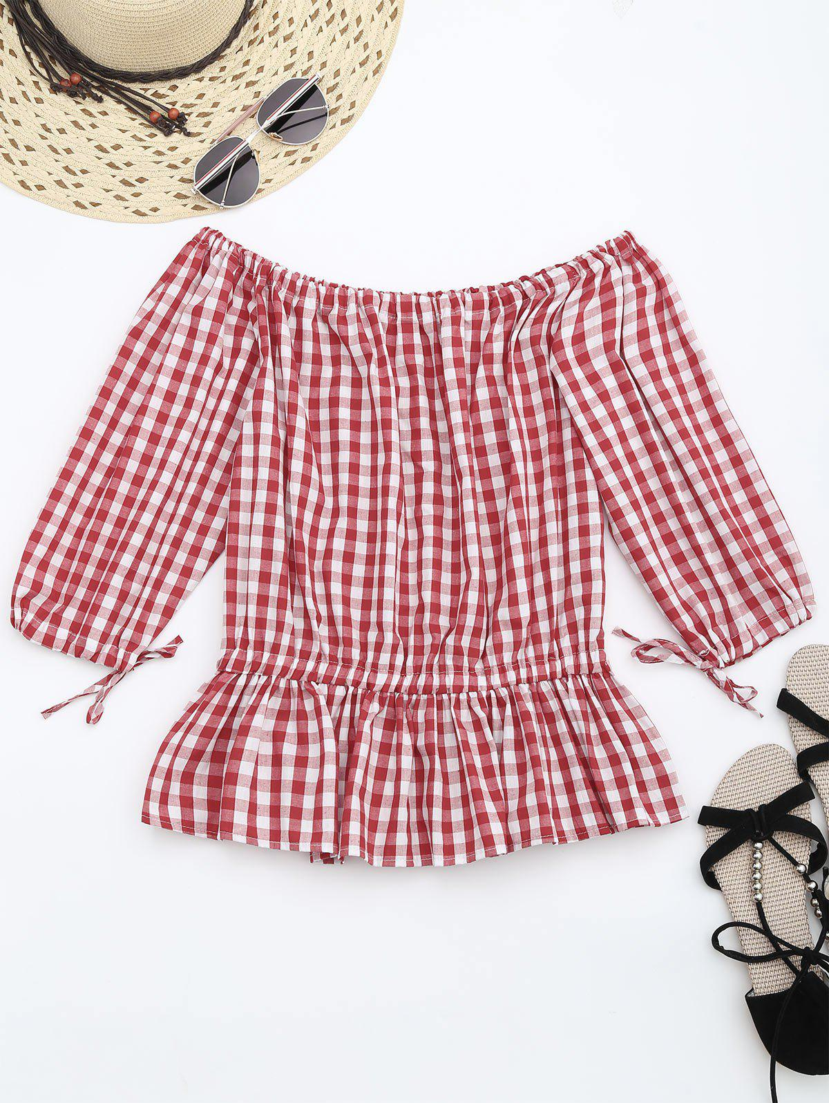 Off The Shoulder Ruffle Checked Blouse 214841103