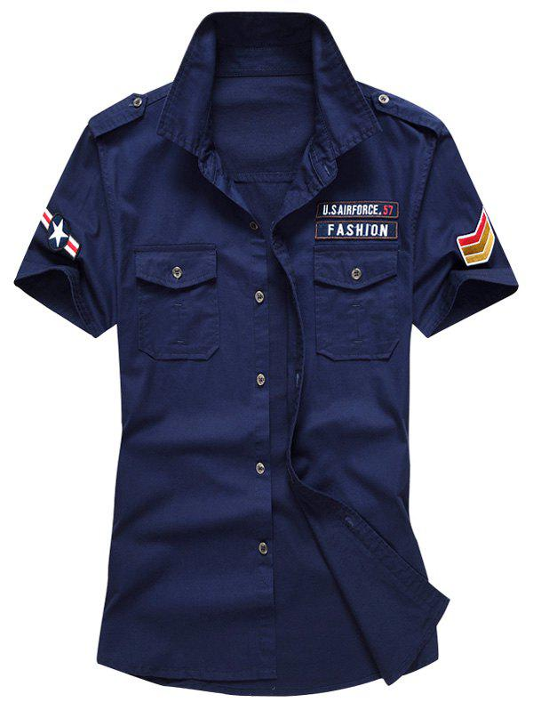 Embroidered Patch Short Sleeves Shirt 215102407