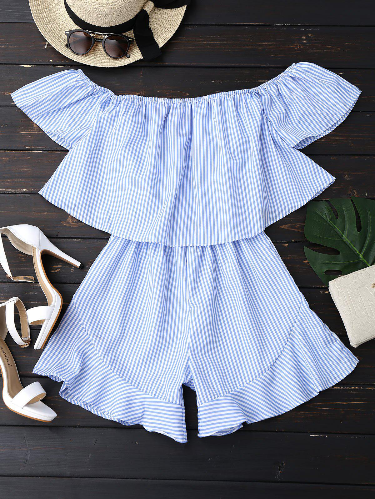 Ruffle Striped Off The Shoulder Romper 214841002