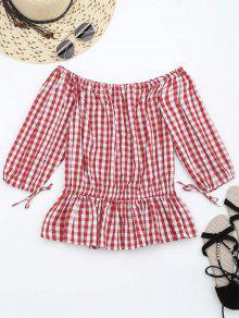 Off The Shoulder Ruffle Checked Blouse - Checked L