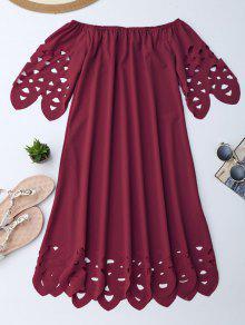Off The Shoulder Flared Dress - Burgundy L