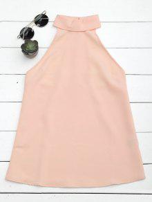 Buttoned Back Halter Top - Pink M