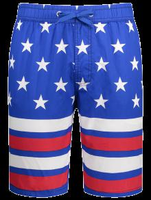 Buy Star Stripe Printed Drawstring Board Shorts - BLUE XL