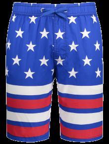 Buy Star Stripe Printed Drawstring Board Shorts - BLUE 2XL