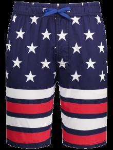Star And Stripe Printed Drawstring Board Shorts - Purplish Blue L