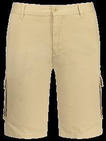 Multi Pockets Bermuda Cargo Shorts - Khaki 38
