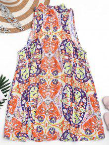 Graphic Cut Out Tunic Dress - Floral S