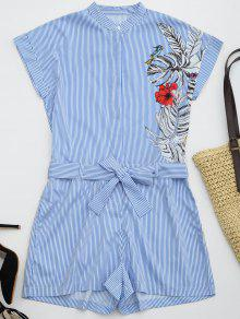 Striped Graphic Belted Romper With Pockets - Stripe L