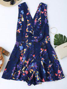 Floral Print Cross Back Plunge Romper - Royal Xl