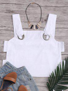 Loose Hollow Out Tank Top With Metal Rings - White M