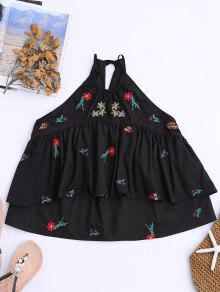Buy Sleeveless Layered Floral Embroidered Top - BLACK L