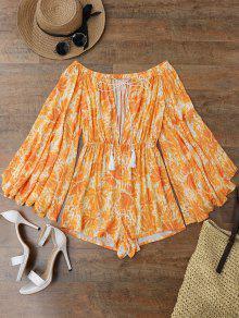 Printed Flare Sleeve Off Shoulder Beach Romper - Orange S