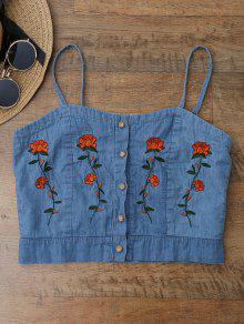 Cami Floral Embroidered Denim Crop Top - Ice Blue S
