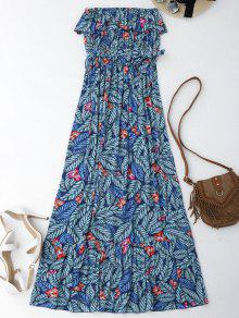 فستان طباعة الورقة بلا اكتاف ماكسي غلاف - الأزهار S