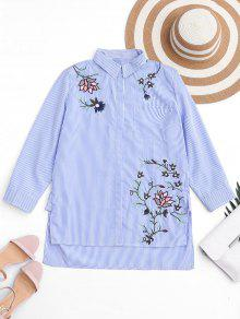 Embroidered Stripes High Low Shirt - Stripe S