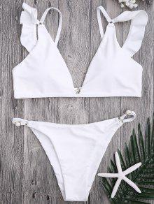 Plunge Adjustable String Bikini Set - White M