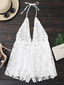 Buy Crochet Plunge Backless Halter Romper - WHITE L