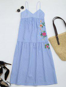 Embroidered Cami Tiered Midi Dress - Stripe L