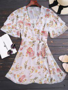Floral Flounces Wrap Mini Dress - Floral S