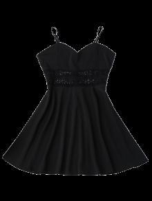 Con Negro Vestido Con Ahuecado De Patinador Ganchillo M Tirantes De Sol Finos 0rvIwrqx