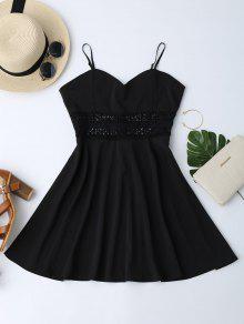 Vestido De Patinador De Sol Con Tirantes Finos Con Ganchillo Ahuecado - Negro S