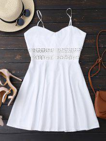 Vestido De Patinador De Sol Con Tirantes Finos Con Ganchillo Ahuecado - Blanco L