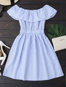 Open Back Striped Off The Shoulder Dress - Blue L