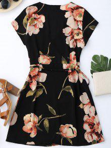 Floral Vestido Abrigo Mini S De Manga Cap Negro qBCwvC7x