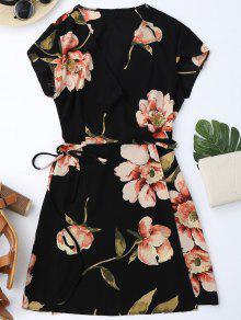 فستان كاب الأكمام زهري مصغر لف - أسود L