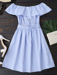 5bab0a86f246 31% OFF  2019 Open Back Striped Off The Shoulder Dress In BLUE