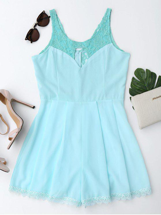 fancy Sleeveless Cutout Lace Insert Romper - TURQUOISE XL