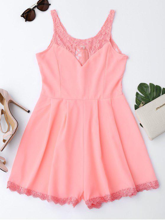 Las Sleeveless Cutout Lace Insert Romper Fluorescent Pink Xl