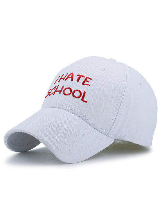 outfits I Hate School Embroideried Design Baseball Hat - WHITE